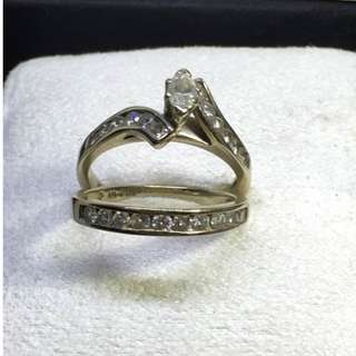Preloved 14k white gold engament /bridal ring with diamonds sz5.5