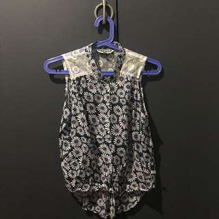 Flower Sleeveless Top With Lace Detail