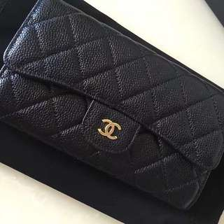 C H A N E L  Quilted Classic Long Wallet