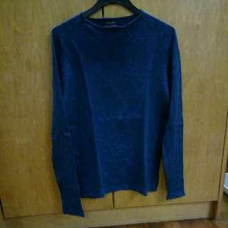 Zara man basic dark blue long sleeve shirt