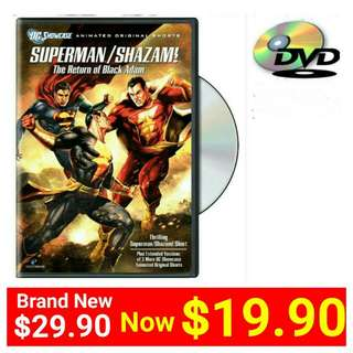 Brand New DVD MOVIE Superman/Shazam: The Return of Black Adam (Orginal Brand New in box and sealed) Usual Price: $29.90 Special Price:$19.90 + Free Mail Postage Delivery. Or Whatsapp 85992490 to collect Today.
