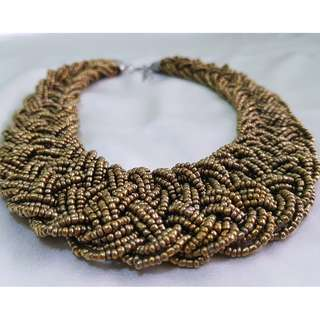 Braided Beaded Bib Necklace in Bronze Color