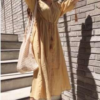 二手 穿過一次 Tennyson shop 棉麻綁帶流蘇洋裝