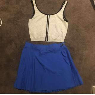 SET- TOP AND BLUE PLEATED SKIRT