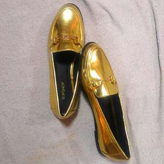 Authentic Topshop Gold Flat Loafer Shoes