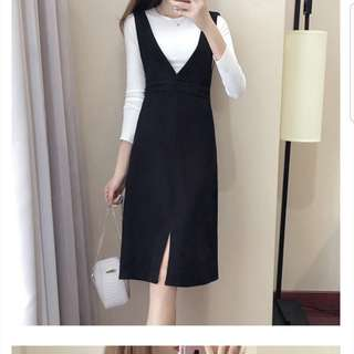 Black Overall dress - stretchy and comforty