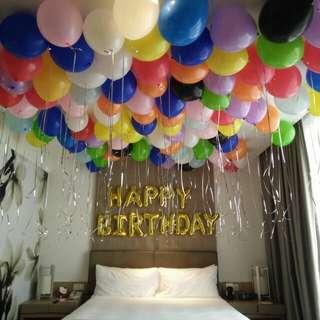 Surprise balloon decor hotel room deco