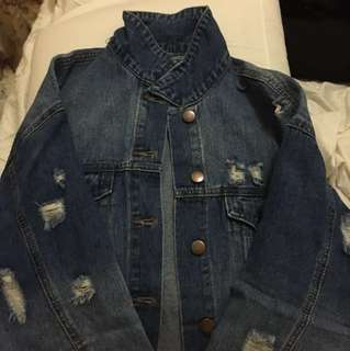 Forever 21 Oversized Ripped Denim Jacket