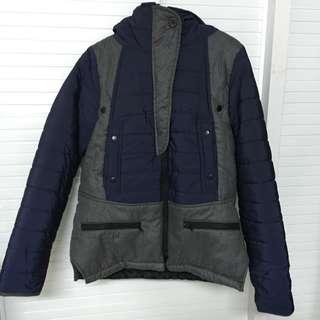 全新 韓 拼接毛料鋪棉拉鍊立領連帽外套 深藍灰 男孩風