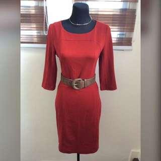 ♥️HQ Thick Fabric Deep Red Classy Dress♥️