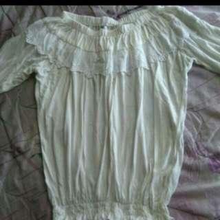🚚 蕾絲白色上衣