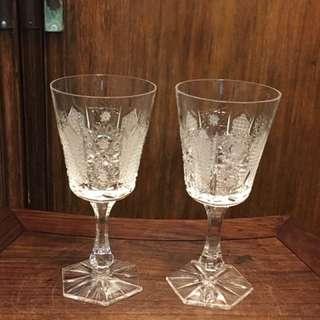 水晶酒杯一對