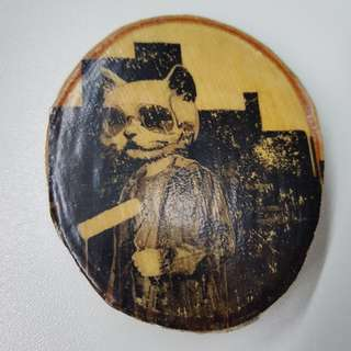 Graffiti Cat Photo in Wood