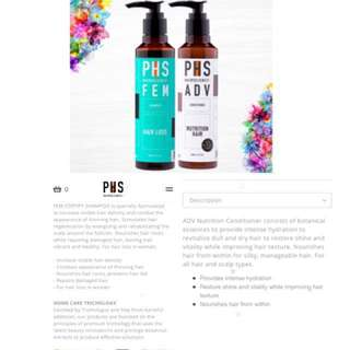 🙀2@$27.50 EA!! ❤️FULL SIZE!! PHS FEM Shampoo (200ml) + PHS ADV Nutrition Conditioner (200gm)