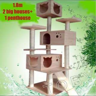 (NEW!) tall pinewood cat tree condo house bed scratch pole