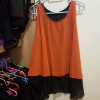 Orange and black top