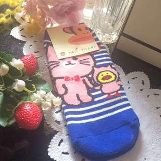 PAUL FRANK: Blue x White Stripes Cartoon Socks