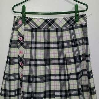 金安德森KINLOCH ANDERSON專櫃  粉紅格紋棉質百摺裙L(38號)