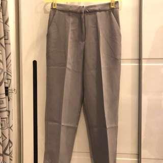 (全新)淺灰色9分直筒西裝褲
