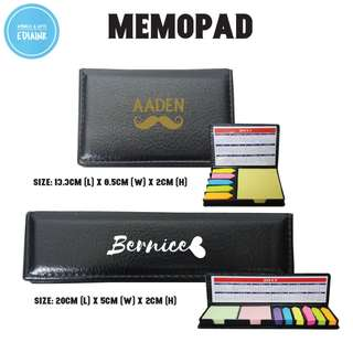 Customised Memopad - as gift. Comes with grey box. Students / teachers / Colleagues
