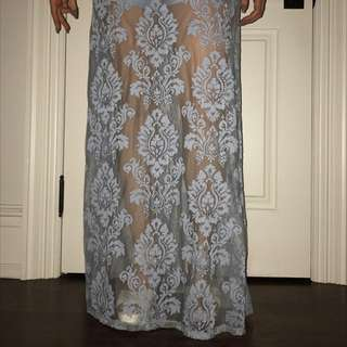 Lace Full Length Blue Skirt