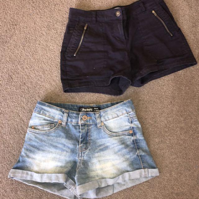 2x denim shorts