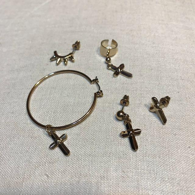 歐美個性十字架耳環組