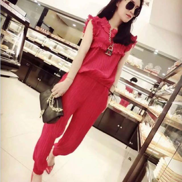 上衣+長褲(紅)