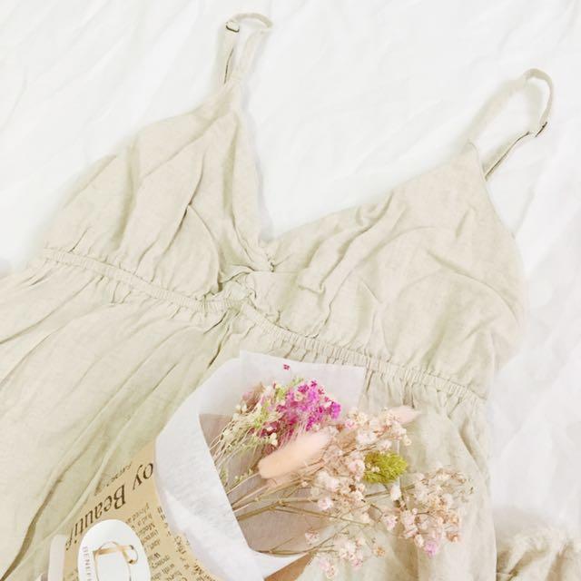 日本森林系夏日風情麻料細肩帶高腰連身長裙