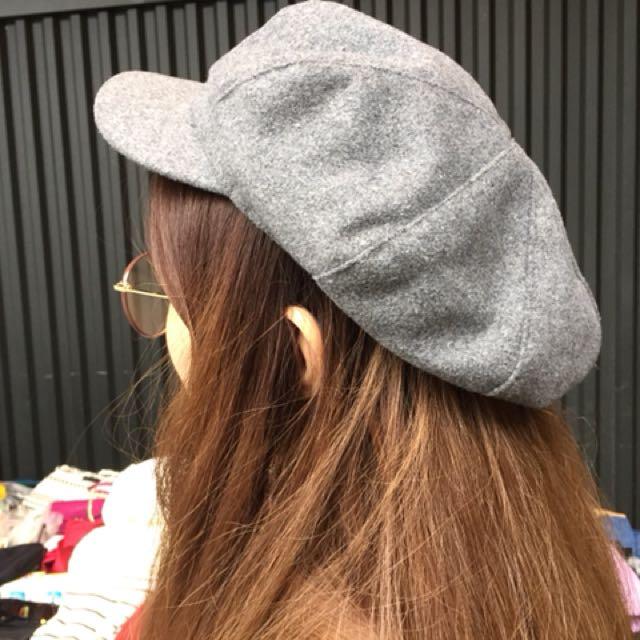 灰色刷毛報童帽