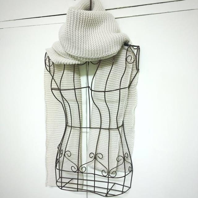 全新//米白//高厚領//保暖圍巾