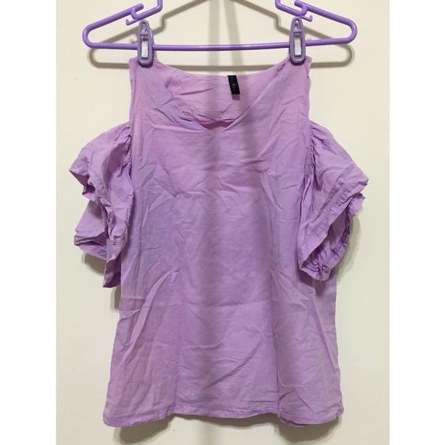 薰衣草紫💜甜美露肩荷葉袖上衣
