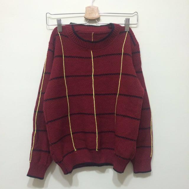 🌵復古暗紅粗針織毛衣 #手滑買太多