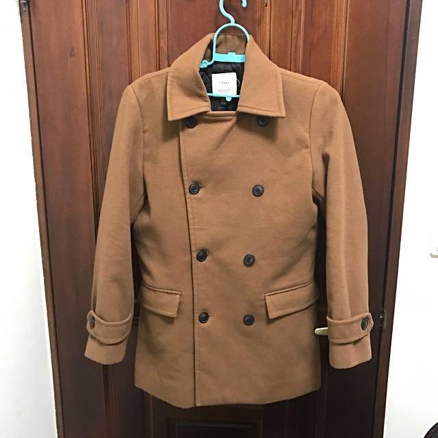 韓國排扣米色大衣 穿過二次 接近全新