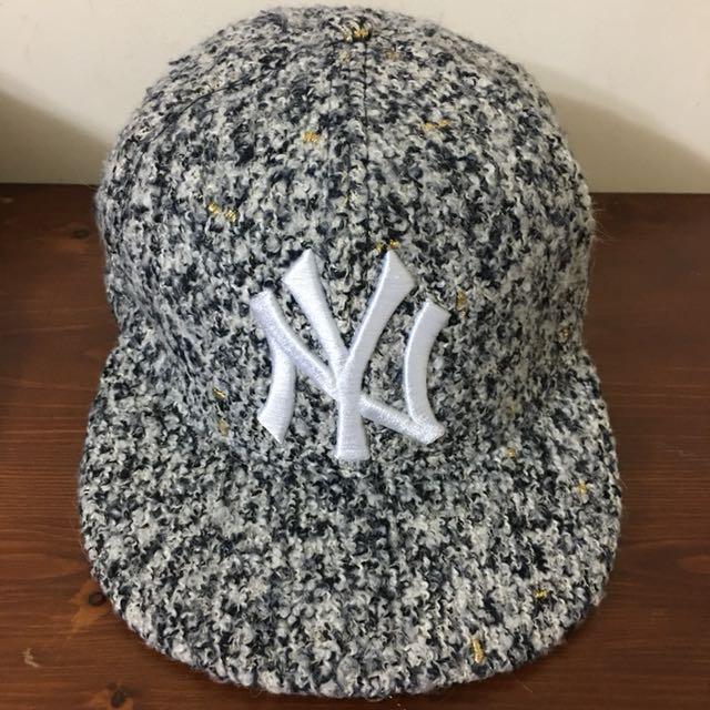 黑白毛呢棒球帽 洋基 #好物任你換