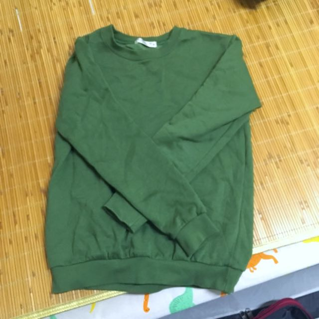 墨綠色 軍綠色 刷毛大學t 長袖