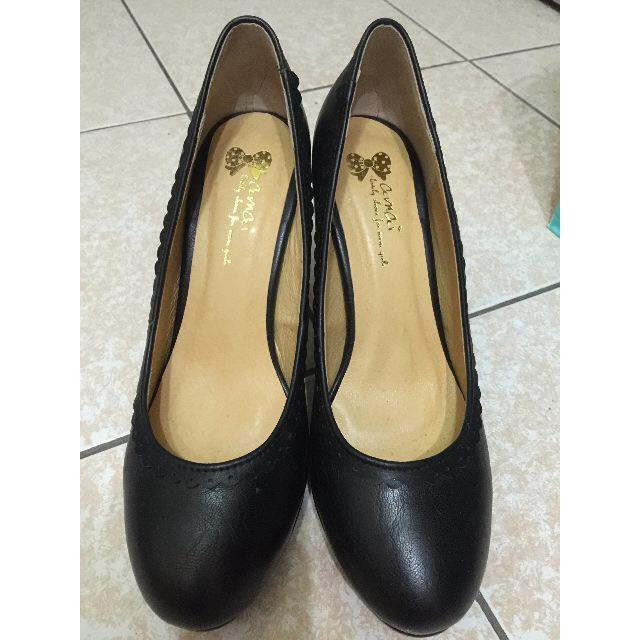 「僅穿一次」amai 舒適鞋墊黑色高跟鞋