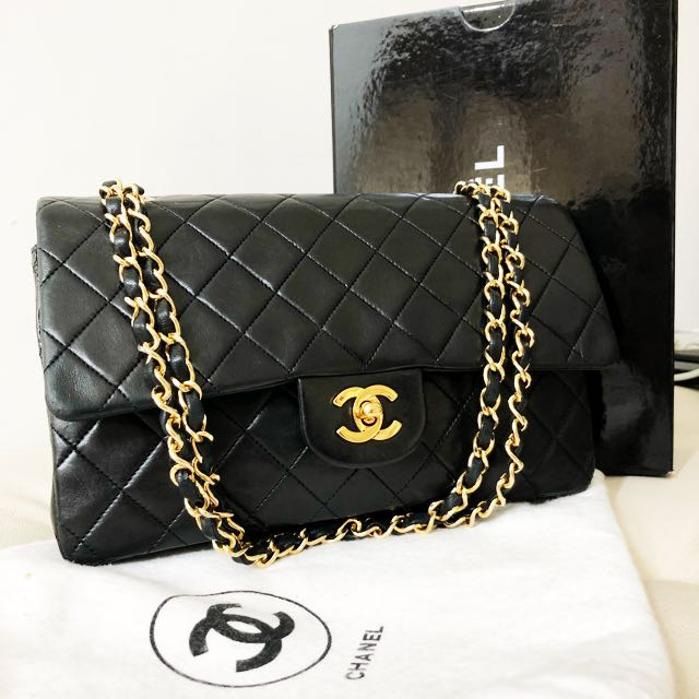 2adfcdf65a0b21 Authentic chanel 10 inch classic double flap lambskin bag with 24k gold  hardware, Luxury, Bags & Wallets on Carousell