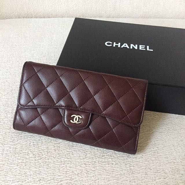 AUTHENTIC CHANEL Lambskin Long Trifold Wallet Purse