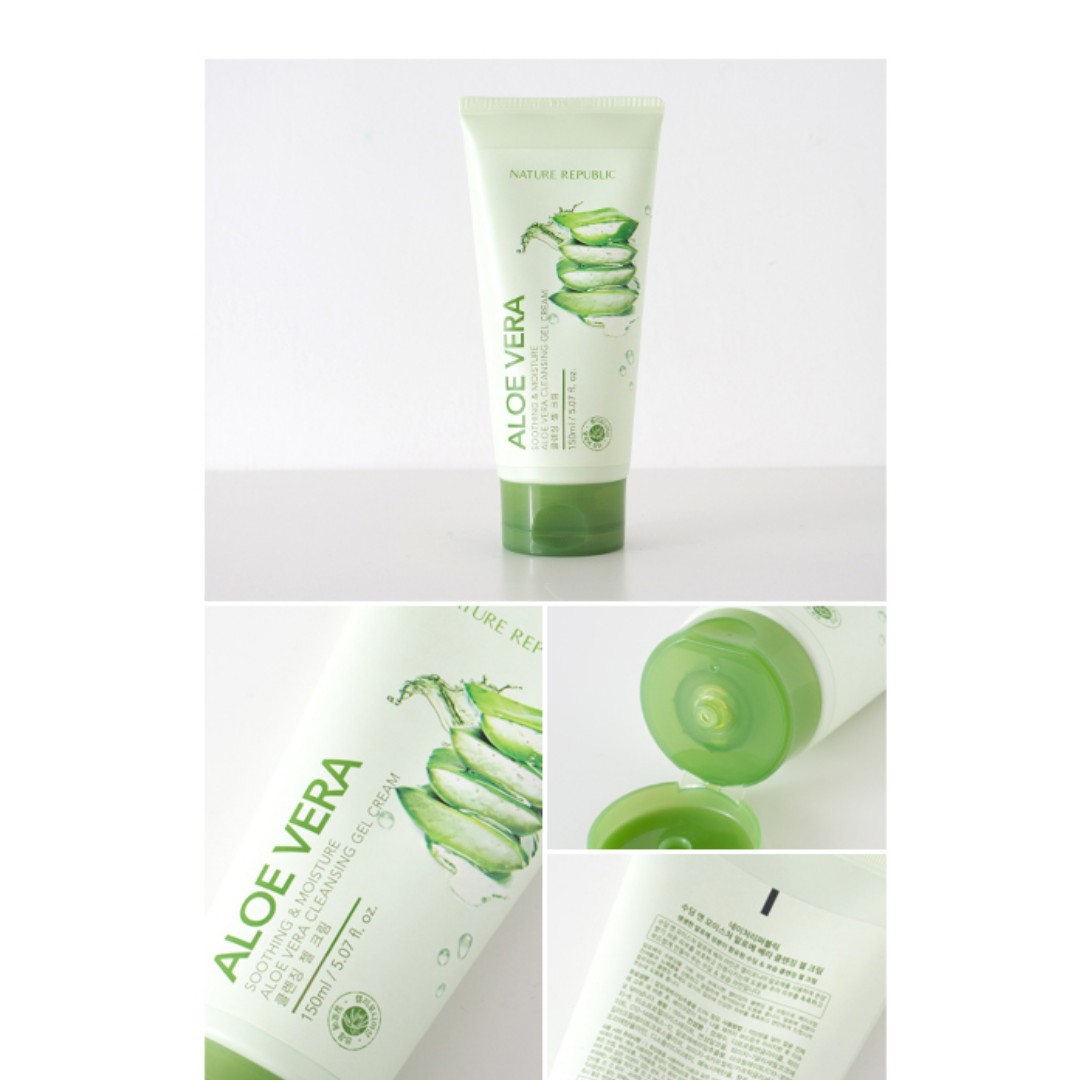 Authentic Nature Republic Aloe Vera Cleansing Gel Cream, Health & Beauty, Skin, Bath, & Body on Carousell