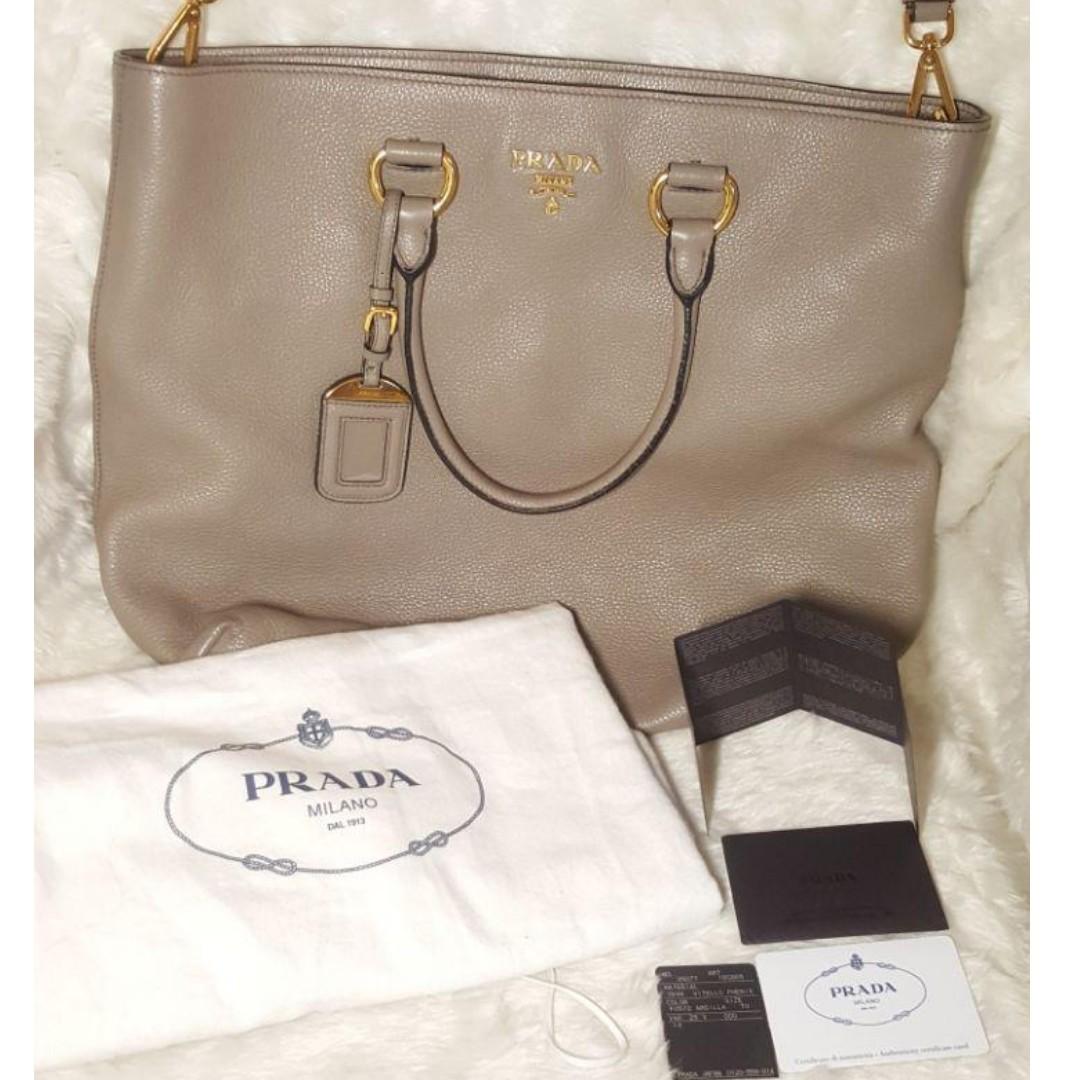 35800a317058 ... inexpensive authentic prada 1bg865 vitello phenix leather argilla color preloved  womens fashion bags wallets on carousell ...