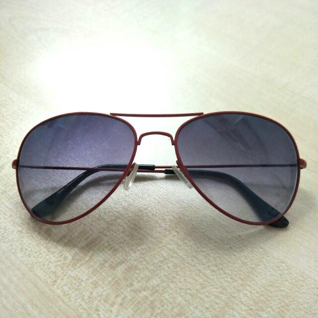 Aviator Sunglasses - Retro, Red Frame, Lightweight, Women\'s Fashion ...