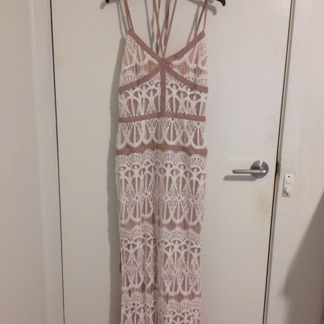 Boohoo Lace Panelled Maxi Dress