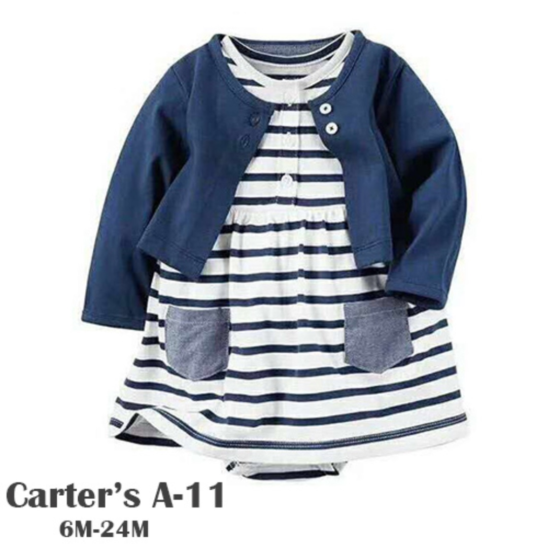 5489ca838 Carter's 2-Piece Babysoft Bodysuit Dress + Cardigan Set, Babies ...