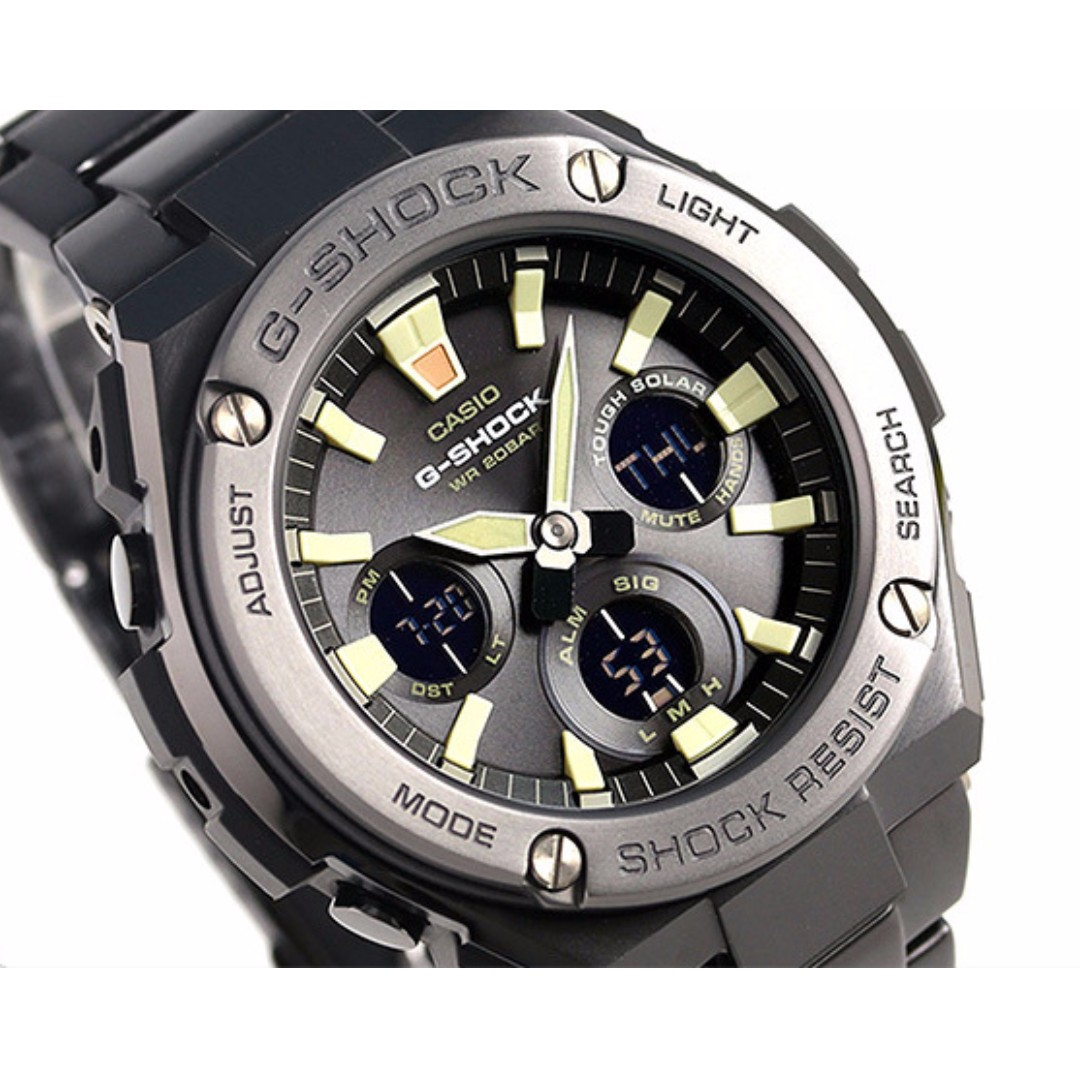 Casio G Shock G Steel Super Illuminator Black Pvd Metal Bracelet Gst