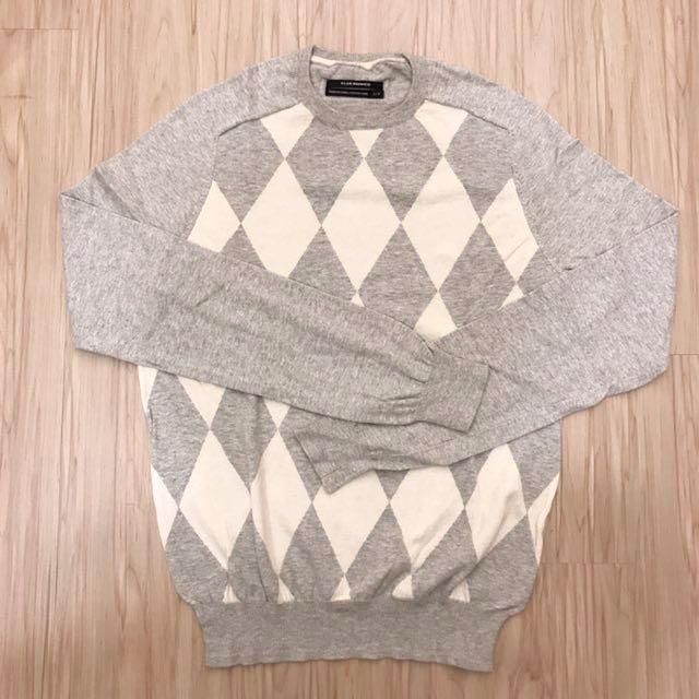 Club Monaco 灰白色菱形格針織衫S