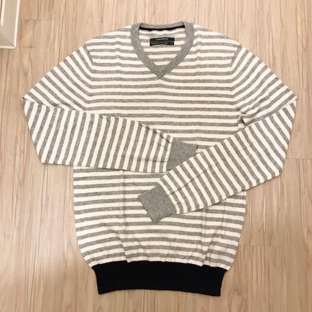 Club Monaco V領灰白色條紋針織衫S
