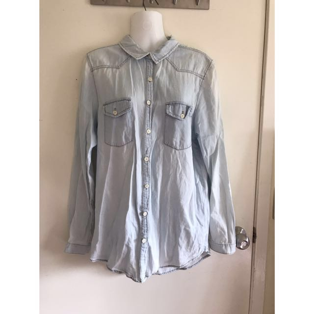 Cotton on denim look button up top/throw