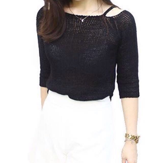 Cut-out White Sweater