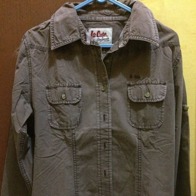 Distressed Washed Brown Shirt by Lee Cooper Originals